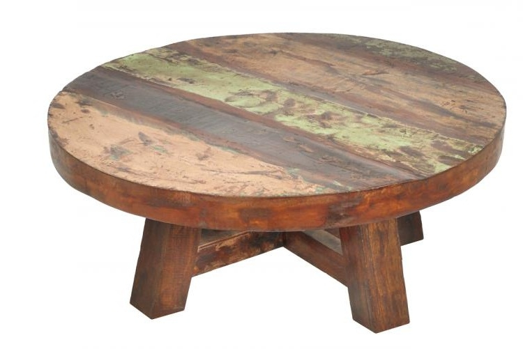 Wonderful High Quality Round Glass And Wood Coffee Tables Within Round Reclaimed Wood Coffee Table (View 35 of 50)