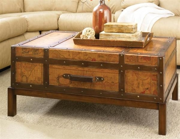 Wonderful High Quality Trunks Coffee Tables Regarding Old Map Trunk Coffee Table (Image 37 of 40)