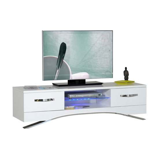 Wonderful High Quality White Gloss TV Stands With Drawers Pertaining To Smooth High Gloss White Lcd Tv Stand With Led Light (Image 47 of 50)