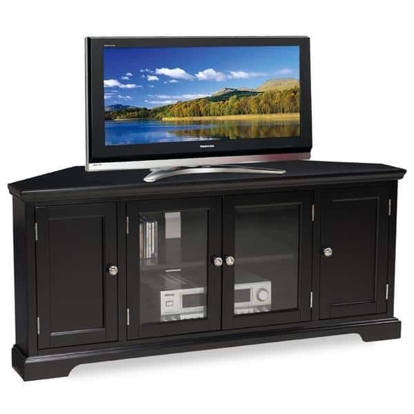 Wonderful Latest Black Corner TV Stands For TVs Up To 60 Inside Slate Black Hardwood 60 Inch Corner Tv Console Free Shipping (Image 48 of 50)
