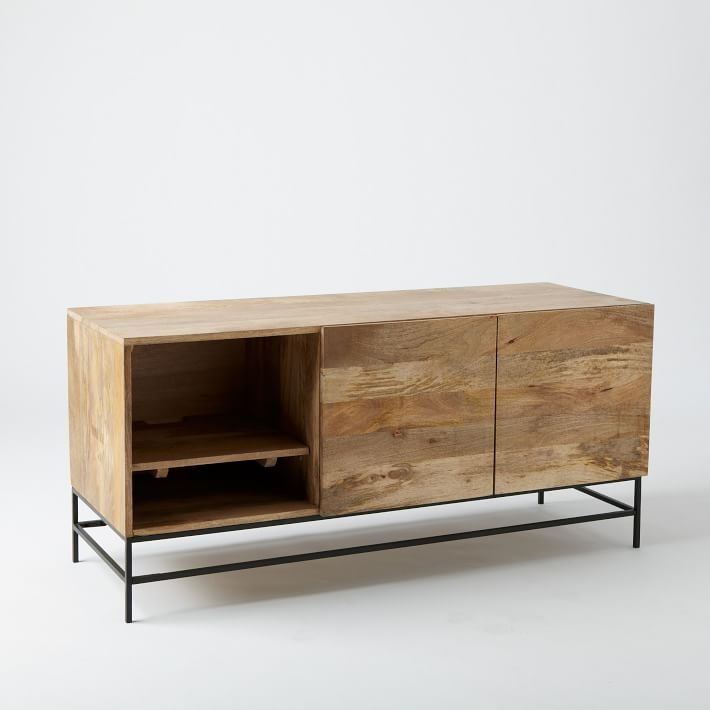Wonderful Latest Mango Wood TV Stands In Industrial Storage Media Console Large West Elm (Image 49 of 50)
