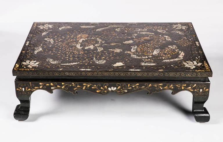 Wonderful Latest Mother Of Pearl Coffee Tables For 19th Century Low Korean Lacquered And Inlaid Coffee Table For Sale (View 29 of 50)