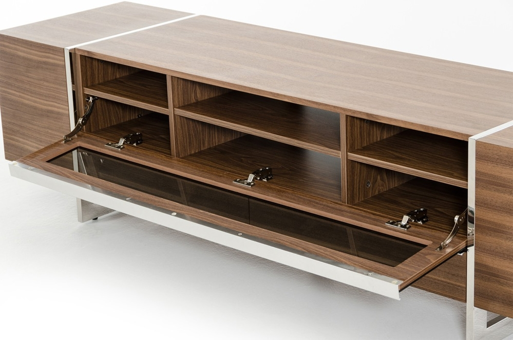 Wonderful Latest Walnut TV Stands Pertaining To Flora Modern Walnut Tv Stand Tv Stands (View 43 of 50)