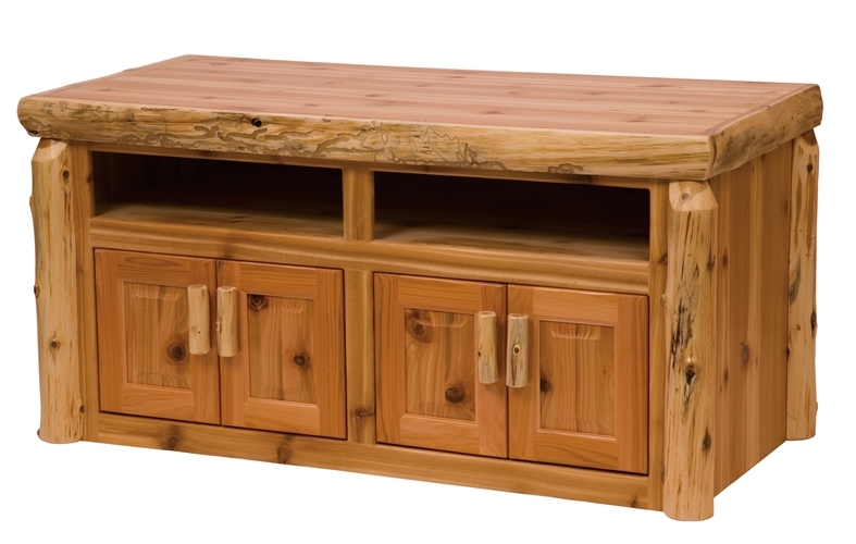 Wonderful Latest Wide Screen TV Stands With Widescreen Tv Stand Log Livingroom Furniture Rustic Minnesota (Image 49 of 50)