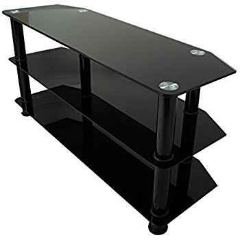 Wonderful New Black Oval TV Stands In Mountright Bgt4b Black Glass Tv Stand For 32 Up To 60 Amazonco (Image 47 of 50)