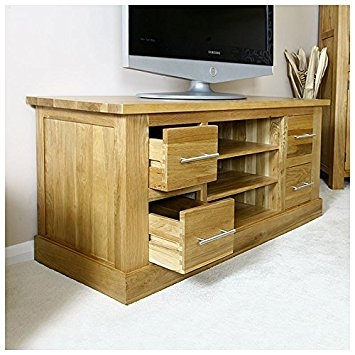 Wonderful New Oak TV Cabinets Intended For Solid Oak Tv Cabinet Stand With Drawers Wide Unit Delamere Hfl (Image 50 of 50)