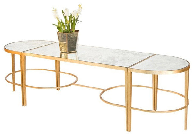Wonderful New Oval Mirrored Coffee Tables In Worlds Away 3 Piece Gold Leaf Sabre Leg Coffee Table (Image 46 of 50)