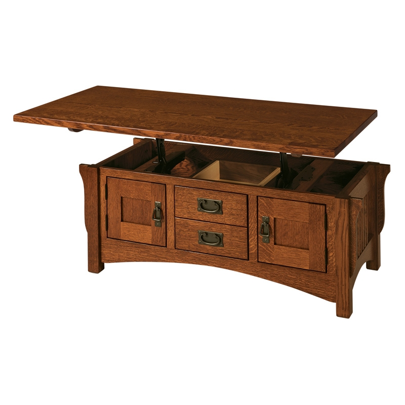 Wonderful New Solid Oak Coffee Table With Storage With Coffee Table Amish Lift Top Coffee Table Amish Mission Coffee (Image 47 of 50)