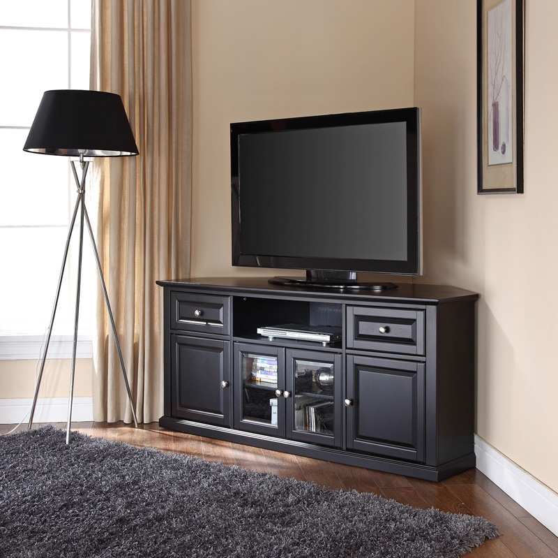 Wonderful Popular Black Corner TV Cabinets Throughout 60w Corner Tv Stand In Black Cf1000260 Bk Crosley Bizchair (View 2 of 50)