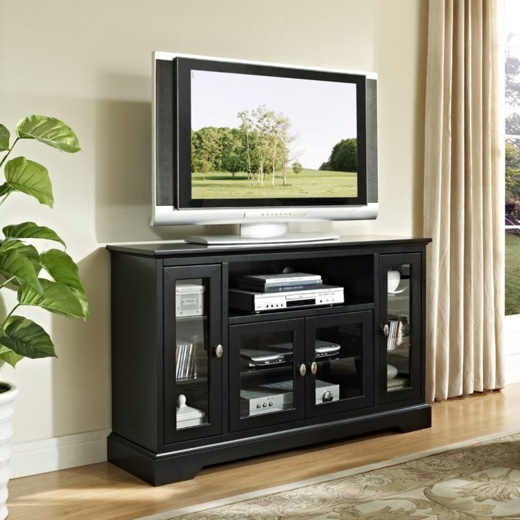 Wonderful Popular Black TV Stands With Glass Doors For Furniture Black Wooden Large Media Cabinet With Using Glass Door (Image 47 of 50)