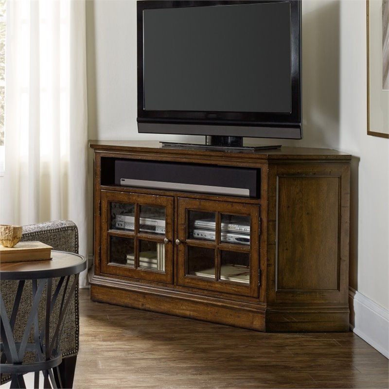 Wonderful Popular Dark Brown Corner TV Stands Intended For Hooker Furniture Brantley 2 Door Corner Tv Stand In Dark Wood (View 25 of 50)