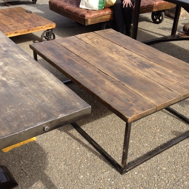 Wonderful Popular Industrial Style Coffee Tables Regarding Industrial Style Coffee Table Diy Barn Wood Steel Pipe Rustic (View 16 of 50)