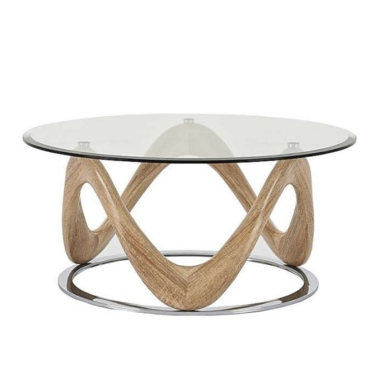 Wonderful Popular Oak And Glass Coffee Tables For Glass Coffee Table Round In Sonoma Oak And Chrome (View 5 of 50)
