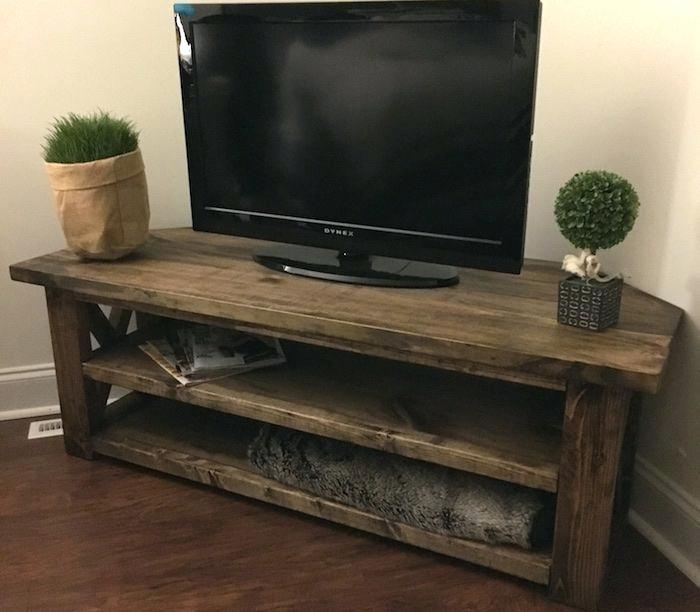 Wonderful Popular Pine Corner TV Stands Regarding Rustic Corner Tv Stand Effluvium (Image 49 of 50)