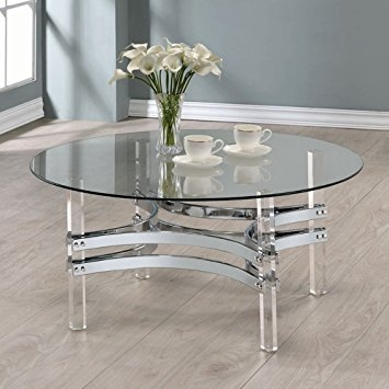 Wonderful Popular Round Chrome Coffee Tables For Amazon Coaster Round Glass Top Coffee Table In Chrome (Image 50 of 50)