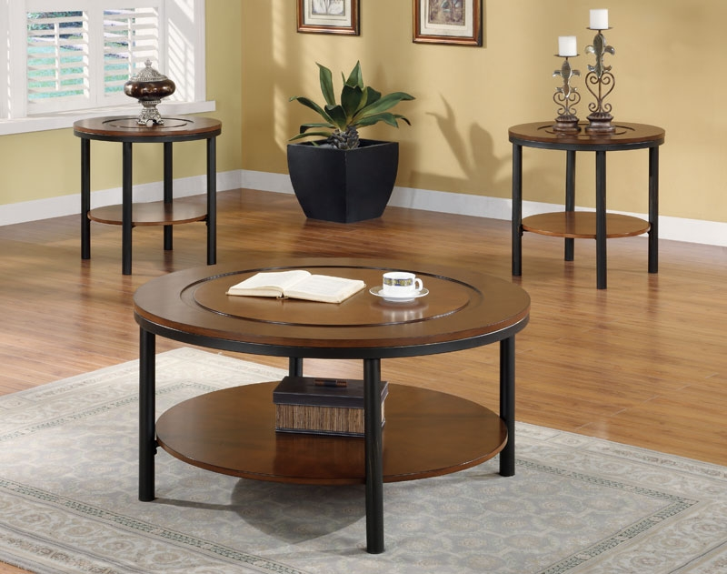 Wonderful Preferred Dark Wood Round Coffee Tables Throughout Cool Round Coffee And End Table Sets Interiorvues (View 23 of 50)