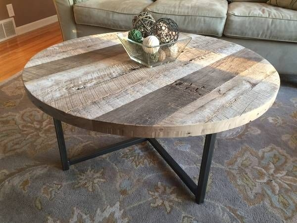Wonderful Preferred Reclaimed Wood And Glass Coffee Tables For Living Room Best Buy A Hand Made Round Reclaimed Wood Table With (View 30 of 50)