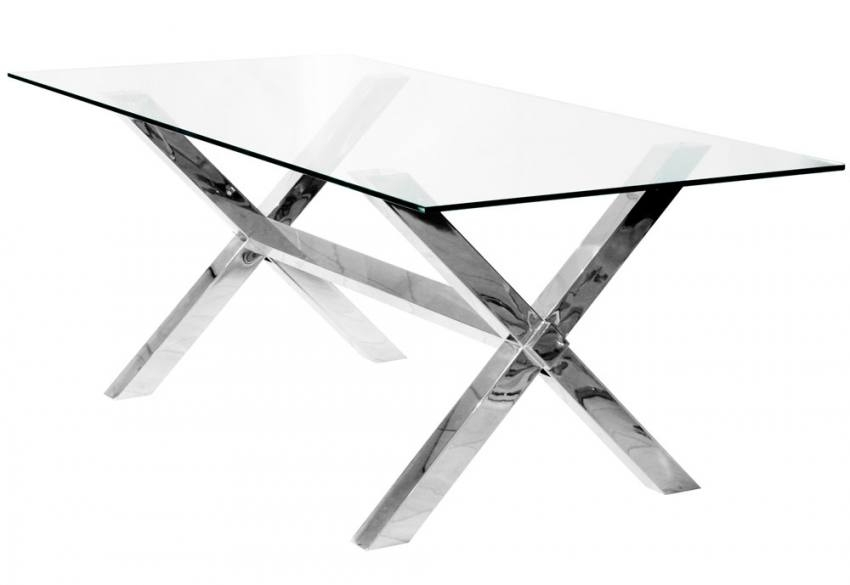 Wonderful Preferred Rectangle Glass Chrome Coffee Tables In Febland Crossly Rectangular Glass Dining Table Sculptured (View 29 of 50)