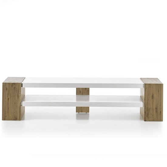 Wonderful Preferred Rectangular TV Stands Within Peter Rectangular Tv Stand In Matt White And Knotty Oak (Image 48 of 50)