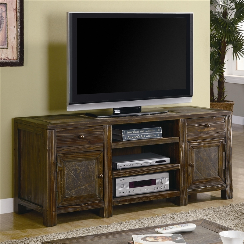 Wonderful Preferred Rustic 60 Inch TV Stands Throughout 60 Inch Tv Stand In Distressed Brown Oak Finish Coaster  (Image 49 of 50)