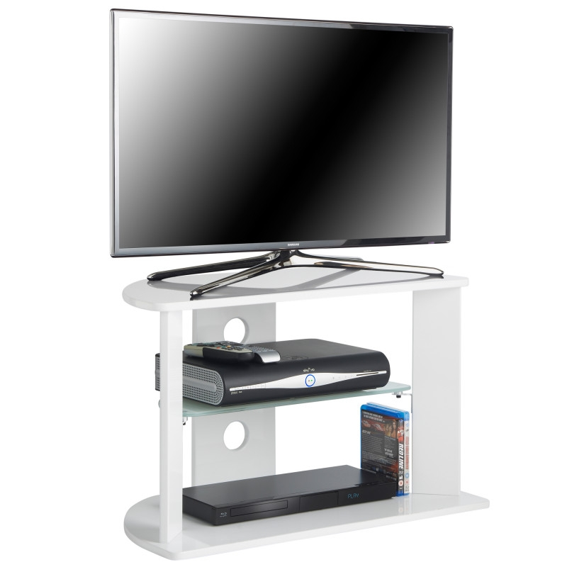 Wonderful Preferred White Glass TV Stands In Vonhaus White Glass Tv Stand For 37inch Tvs (Image 50 of 50)