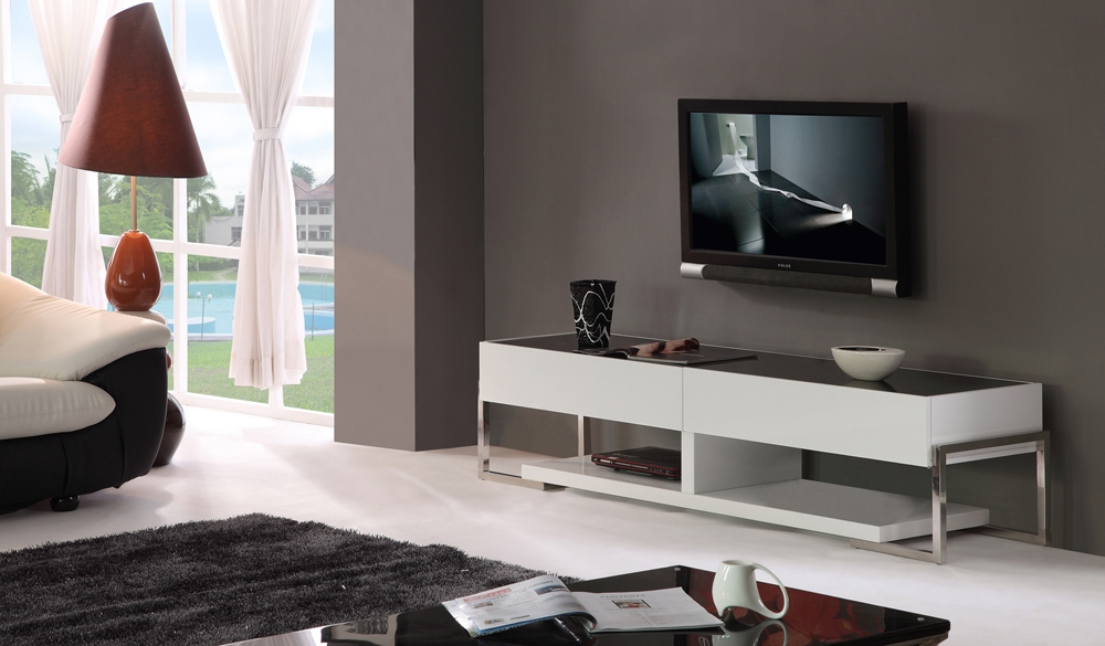 Wonderful Premium BModern TV Stands Throughout B Modern Agent Tv Stand White High Gloss Black Glass Top B (Image 48 of 50)