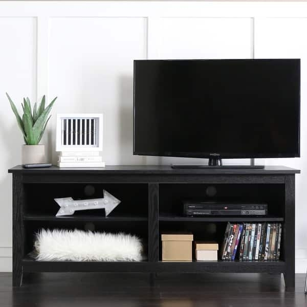 Wonderful Premium Black TV Stands With Regard To Black Wood 58 Inch Tv Stand Free Shipping Today Overstock (Image 45 of 50)