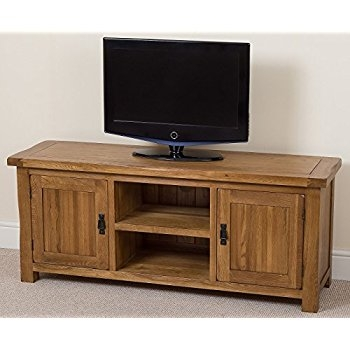 Wonderful Premium Chunky TV Cabinets In Solid Oakland Chunky Oak Large Tv Dvd Video Stand Tv Cabinet (Image 44 of 50)
