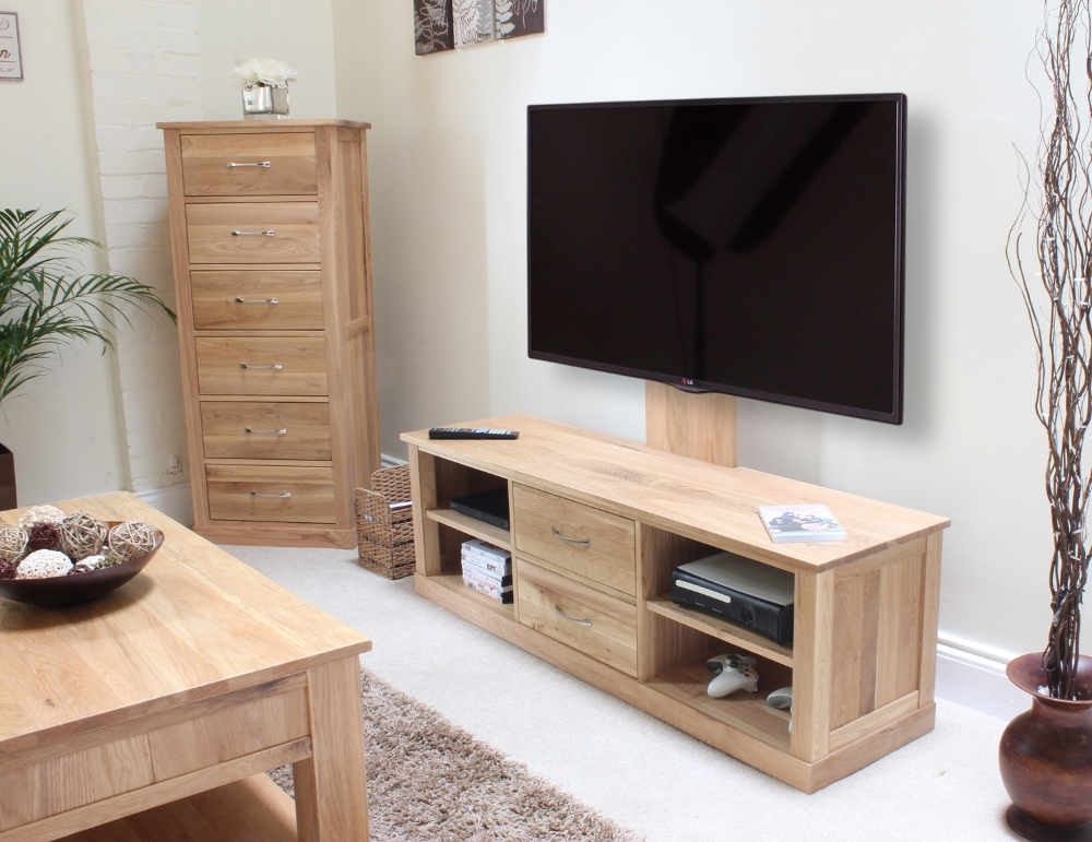 Wonderful Premium Contemporary Oak TV Cabinets Throughout Mobel Oak Mounted Widescreen Television Cabinet Cor09e (Image 50 of 50)