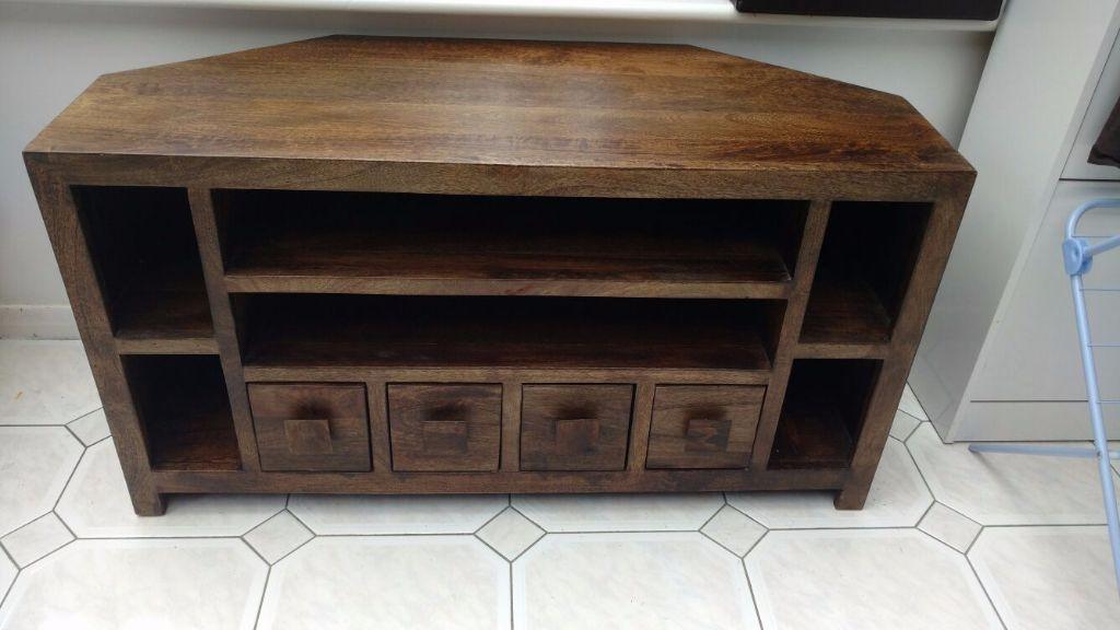 Wonderful Premium Mango Wood TV Cabinets Inside Dakota Mango Wood Corner Tv Unit Cabinet In Bradford West (Image 49 of 50)