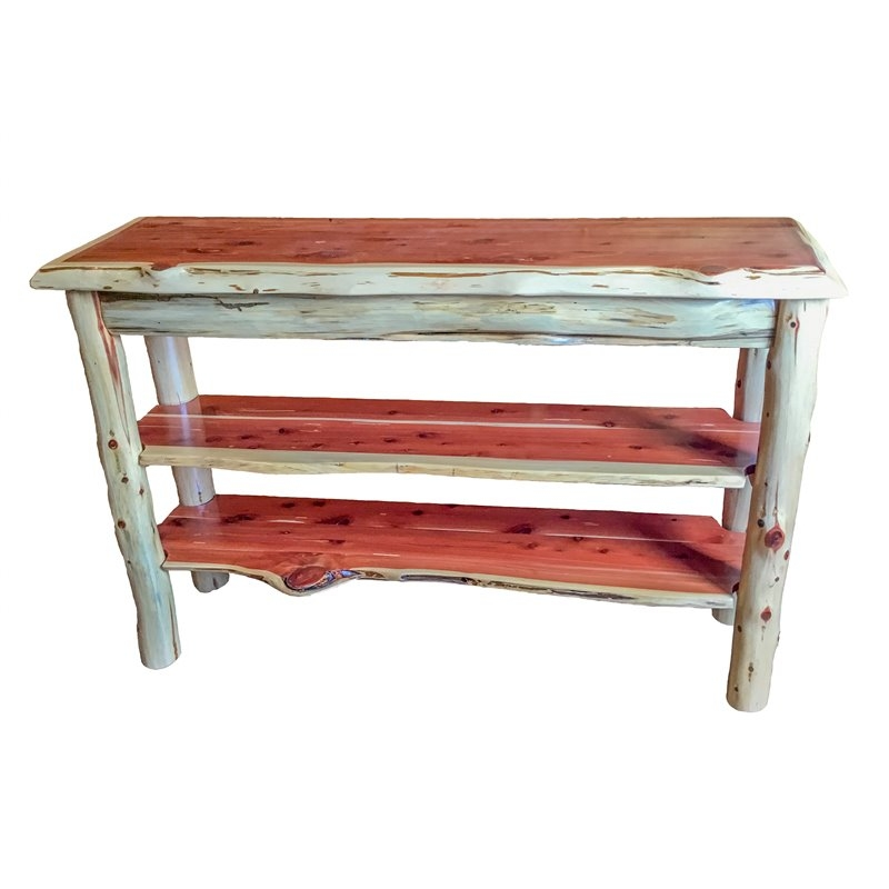 Wonderful Premium Rustic Red TV Stands Regarding Tv Stand Console Table (View 35 of 50)