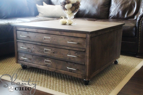 Wonderful Premium Square Shaped Coffee Tables Throughout Ana White 6 Drawer Library Coffee Table Diy Projects (View 18 of 50)