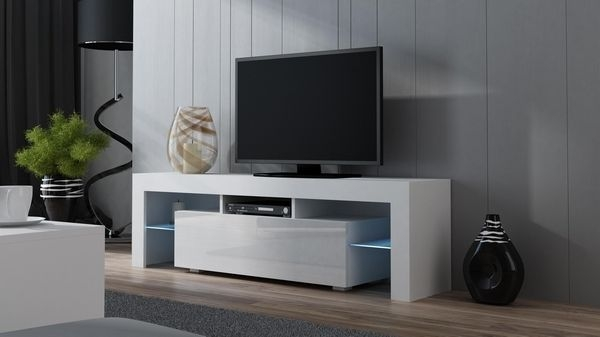 Wonderful Premium White Gloss TV Stands With Drawers Within High Tv Stands For Bedrooms (Image 48 of 50)