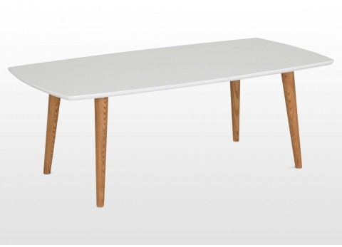 Wonderful Premium White Retro Coffee Tables With Regard To Retro Wooden Coffee Table With White Top Natural Legs Elise (View 9 of 50)