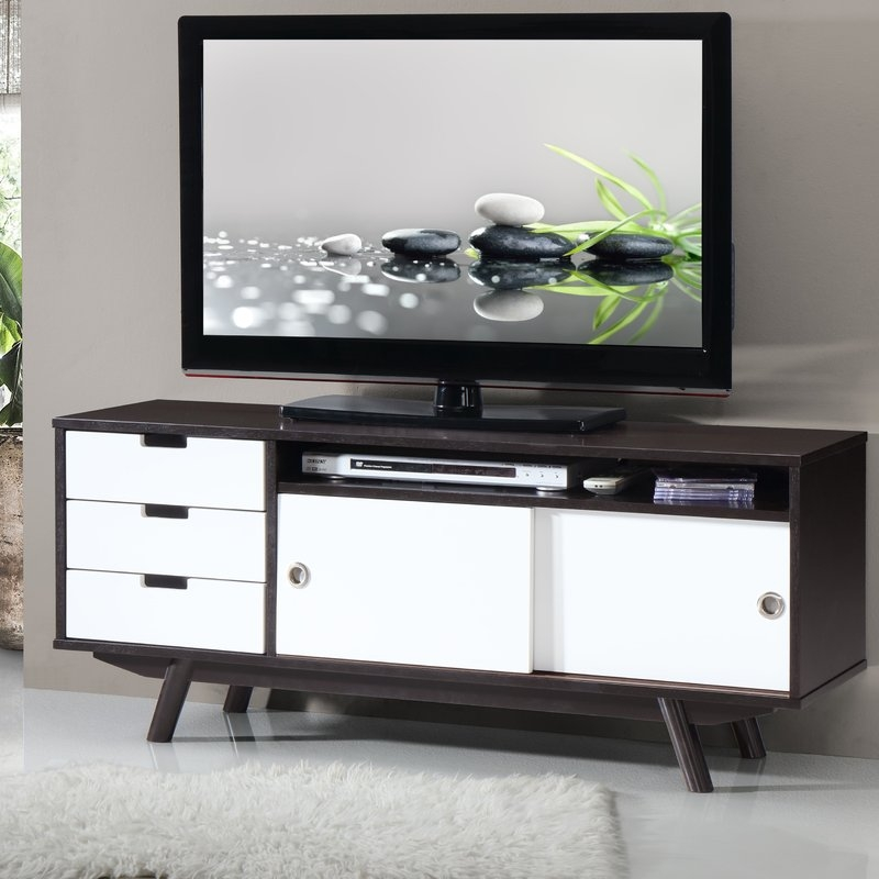 Wonderful Series Of Contemporary Wood TV Stands Pertaining To Techni Mobili Modern Wood Veneer 48 Tv Stand Reviews Wayfair (Image 47 of 50)