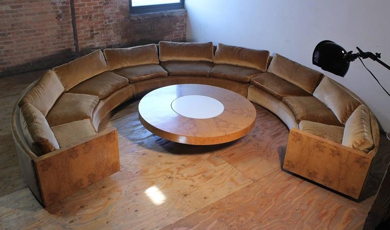 Wonderful Series Of Curve Coffee Tables Pertaining To Vintage Milo Baughman Burled Curve Circle Sofa And Coffee Table At (Image 48 of 50)