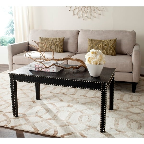 Wonderful Series Of Safavieh Coffee Tables Regarding Safavieh Crispis Black Croc Coffee Table Free Shipping Today (Image 50 of 50)