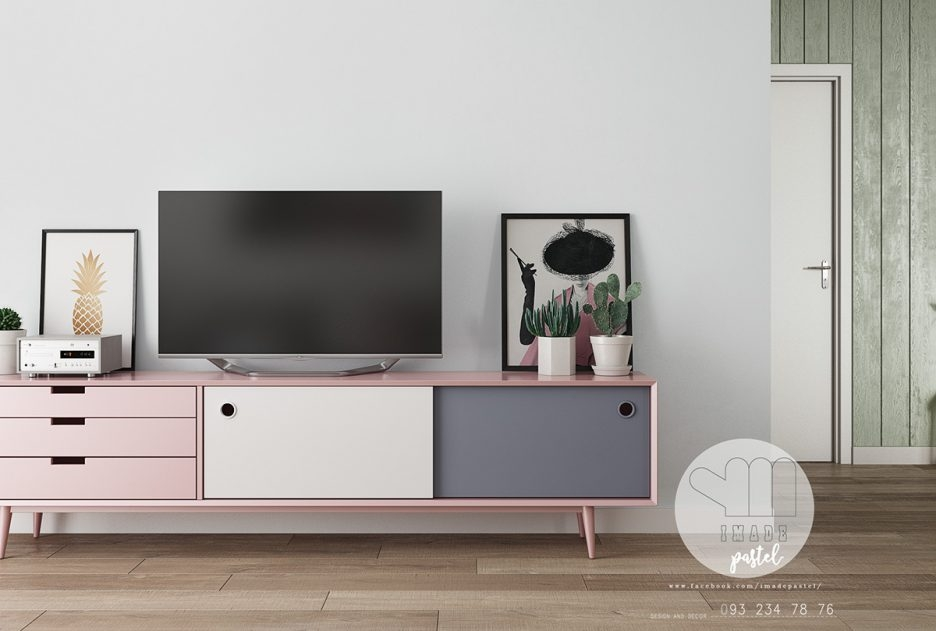 Wonderful Series Of Scandinavian Design TV Cabinets Within Pink Grey And White Tv Cabinet Scandinavian Lounge Three (View 26 of 50)