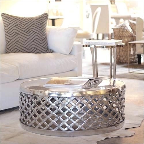 Wonderful Series Of Silver Drum Coffee Tables With Coffee Table Metal Drum Coffee Tablehammered Steel Table (Image 48 of 50)