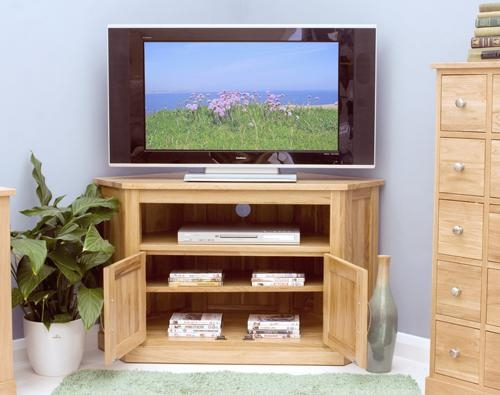 Wonderful Series Of Solid Oak Corner TV Cabinets Regarding Mobel Solid Oak Corner Television Cabinet Modern Tv Media Units (Image 50 of 50)