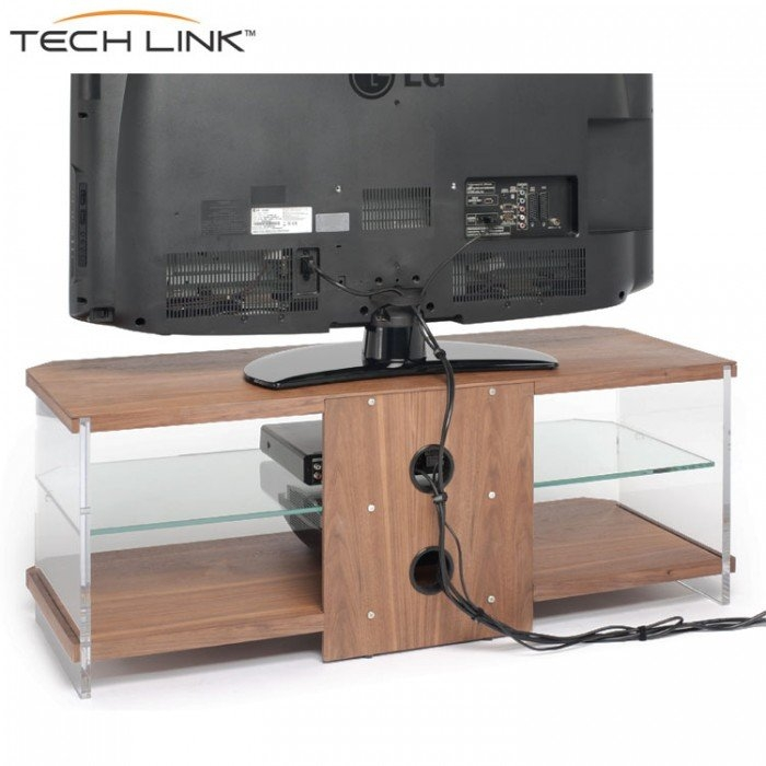 Wonderful Series Of Techlink Air TV Stands Regarding Techlink Ai110w Air Walnut With Clear Glass Tv Stand  (Image 50 of 50)