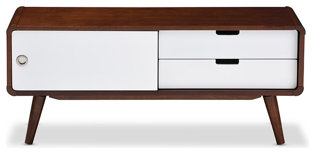 Wonderful Series Of White And Wood TV Stands Intended For Armani Sliding Door Wooden Tv Cabinet White And Brown (Image 48 of 50)