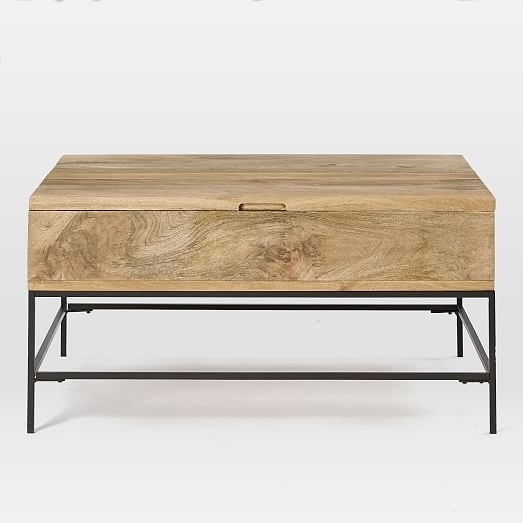 Wonderful Series Of Wooden Storage Coffee Tables Pertaining To Industrial Storage Coffee Table West Elm (View 9 of 50)