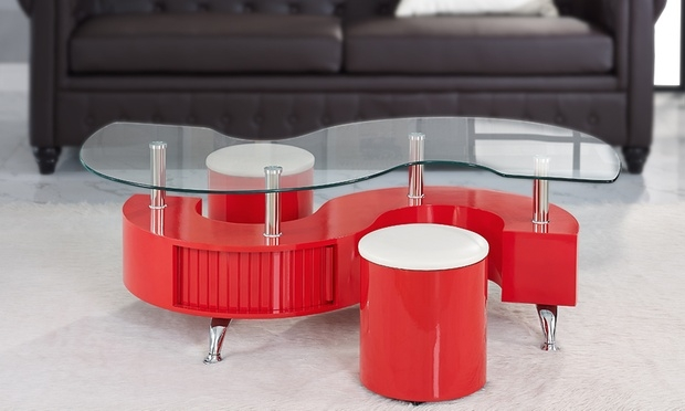 Wonderful Top Red Gloss Coffee Tables For Madrid S Coffee Table And Stools Groupon Goods (Image 39 of 40)