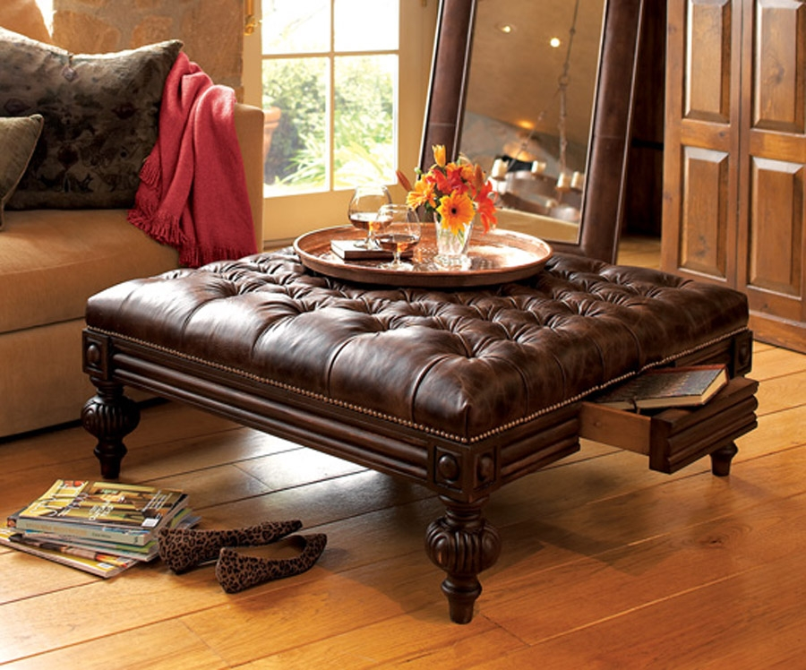 Wonderful Trendy Brown Leather Ottoman Coffee Tables Within Square Ottoman Coffee Table With Storage (View 7 of 50)