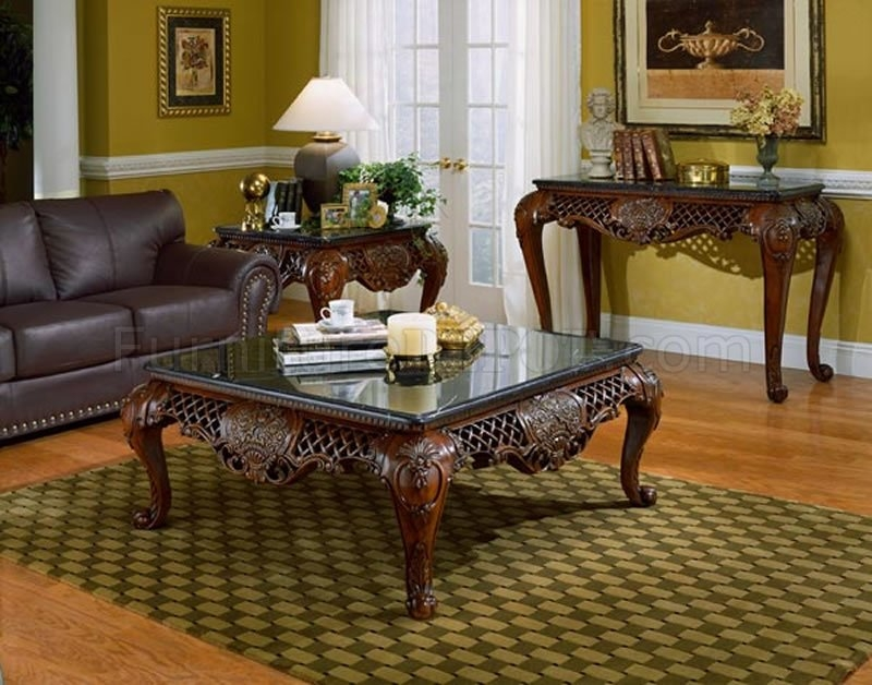 Wonderful Trendy Cherry Wood Coffee Table Sets In Dark Cherry Finish Traditional Coffee Table Wblack Marble Top (Image 48 of 50)