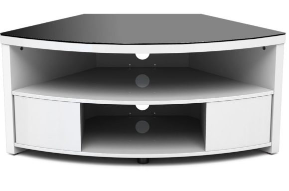 Wonderful Trendy Contemporary Corner TV Stands Pertaining To Furniture White Wooden Curved Media Cabinet With Tv Stand Open (View 36 of 50)