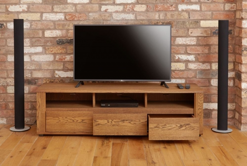 Wonderful Trendy Dark Wood TV Cabinets With Regard To Buy Baumhaus Olten Dark Oak Widescreen Tv Cabinet 3 Drawer (Image 50 of 50)