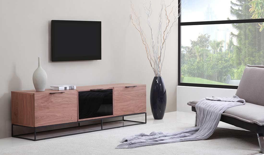 Wonderful Trendy Modern Walnut TV Stands Pertaining To Modern Walnut Black Tv Stand Bm35 Tv Stands (View 24 of 50)