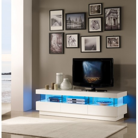 Wonderful Trendy White High Gloss TV Stands In Led Tv Unit Crowdbuild For (Image 49 of 50)